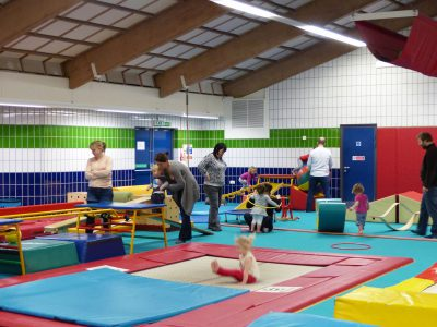 Parents with toddlers doing gymnastics