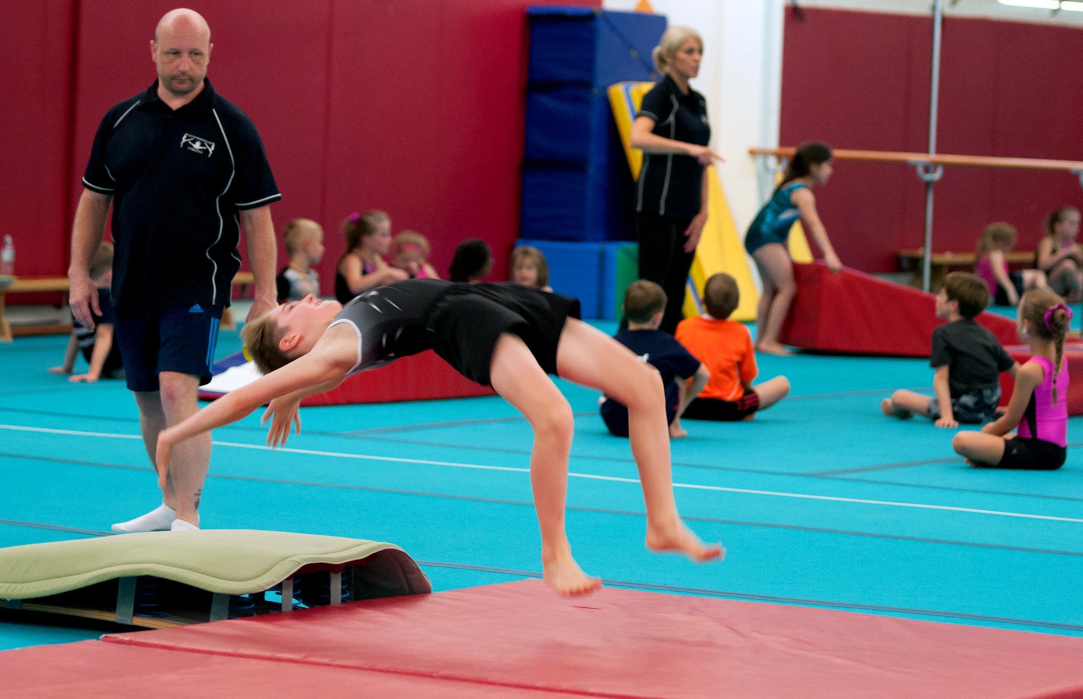 gymnast learning handspring