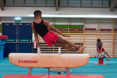 gymnast and pommel horse