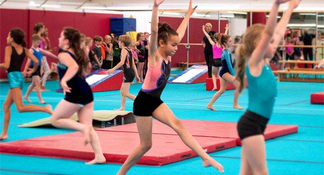 busy gymnastics class