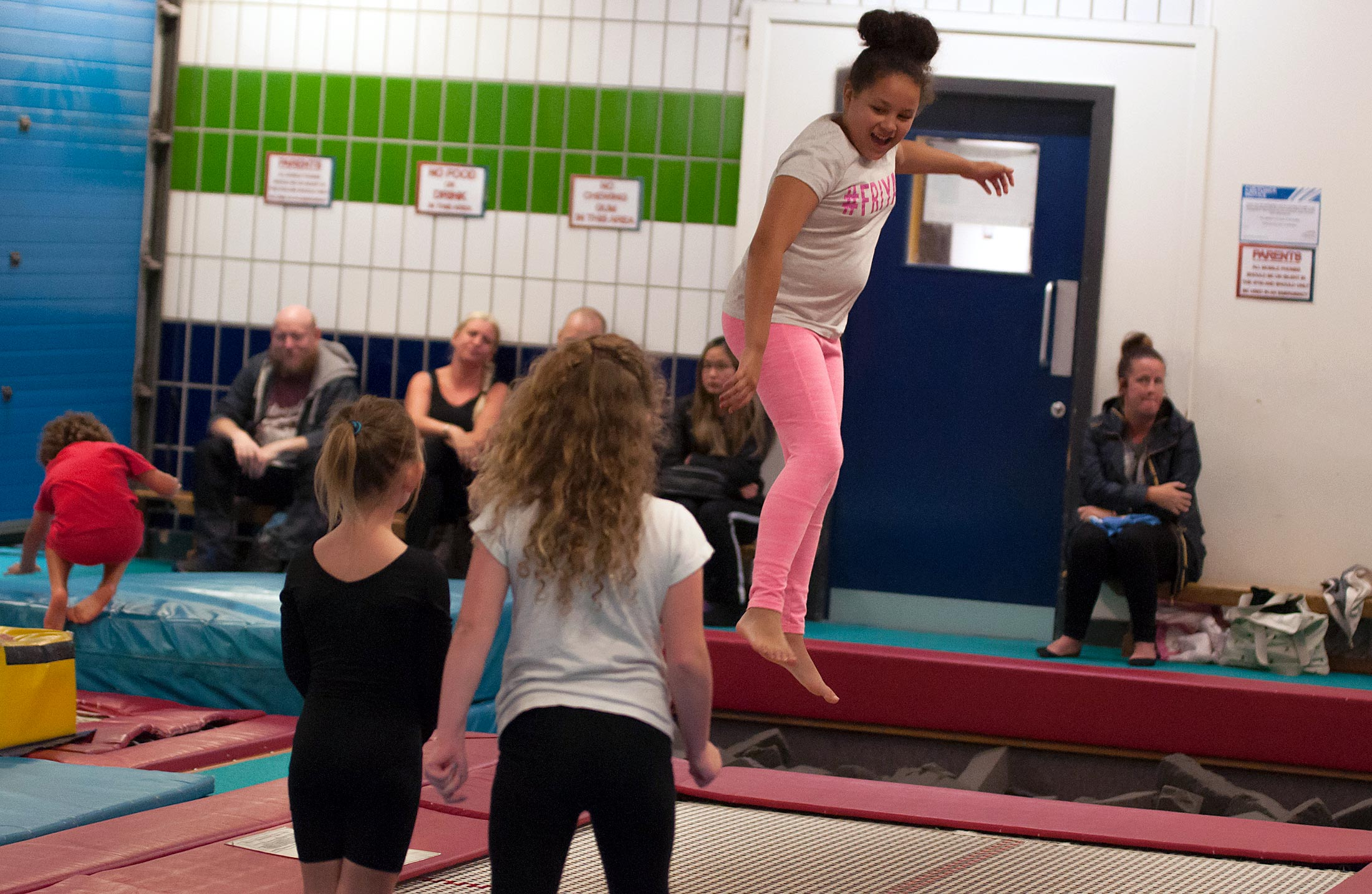 girls on trampoline