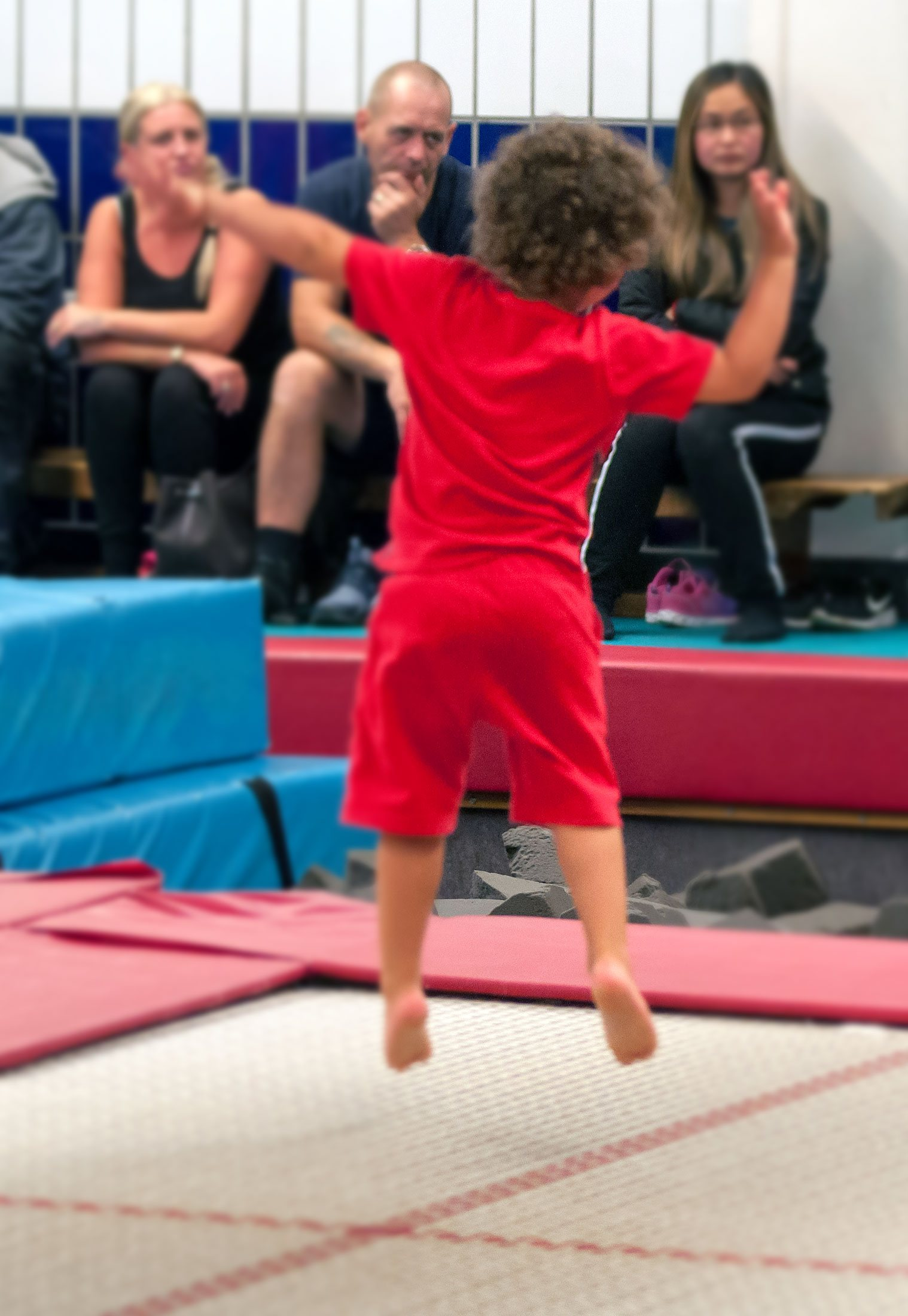 young boy on trampoline