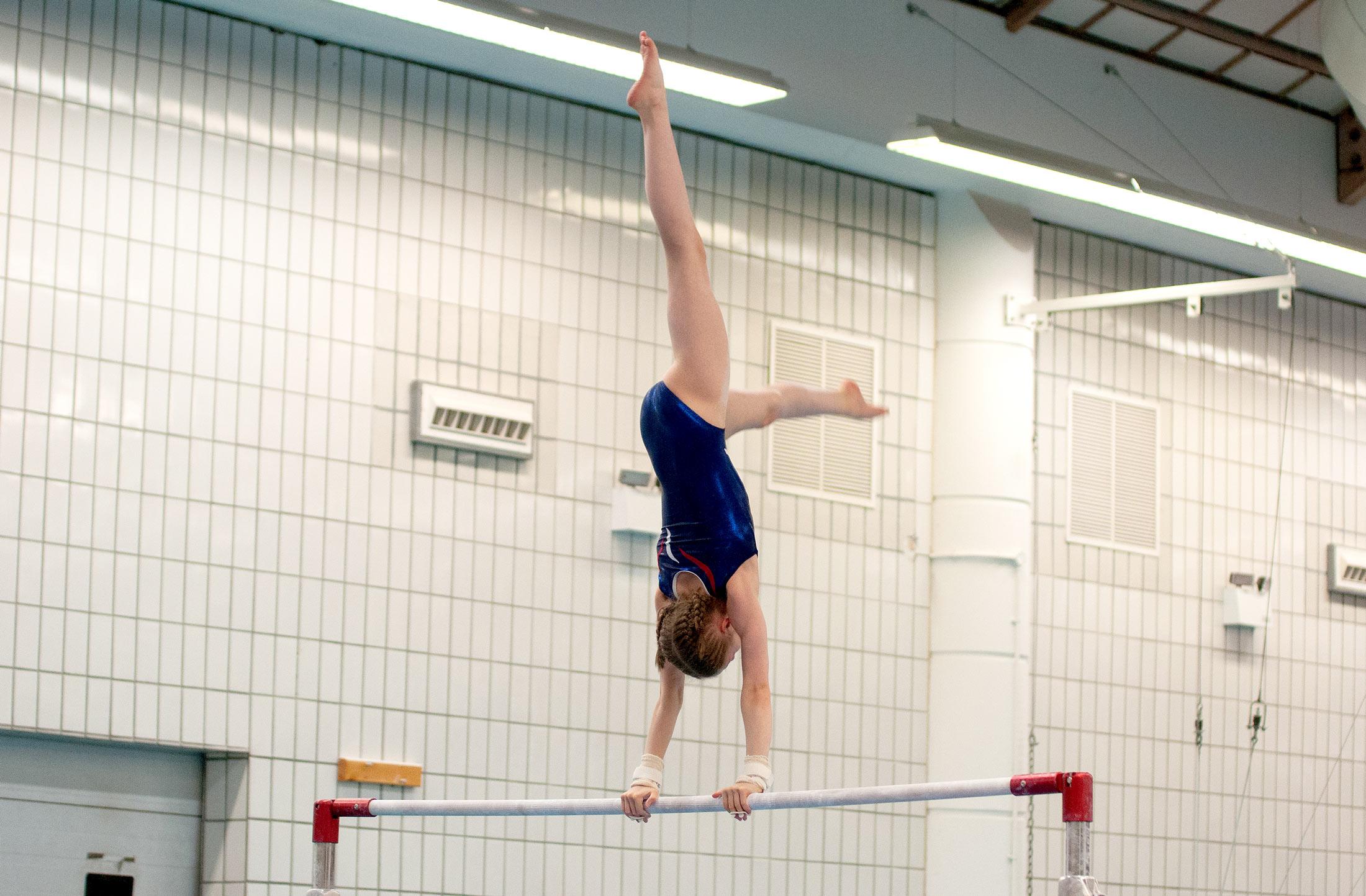 gymnast on asymmetric bars