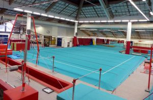 CMIG Main Gym Arena overlooking floor apparatus